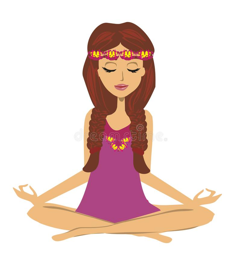 Yoga girl in lotus position royalty free illustration