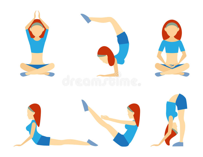 Yoga girl in six positions. Including handstand lotus meditation push-ups balance and bending for suppleness health wellness and fitness vector icons on white royalty free illustration