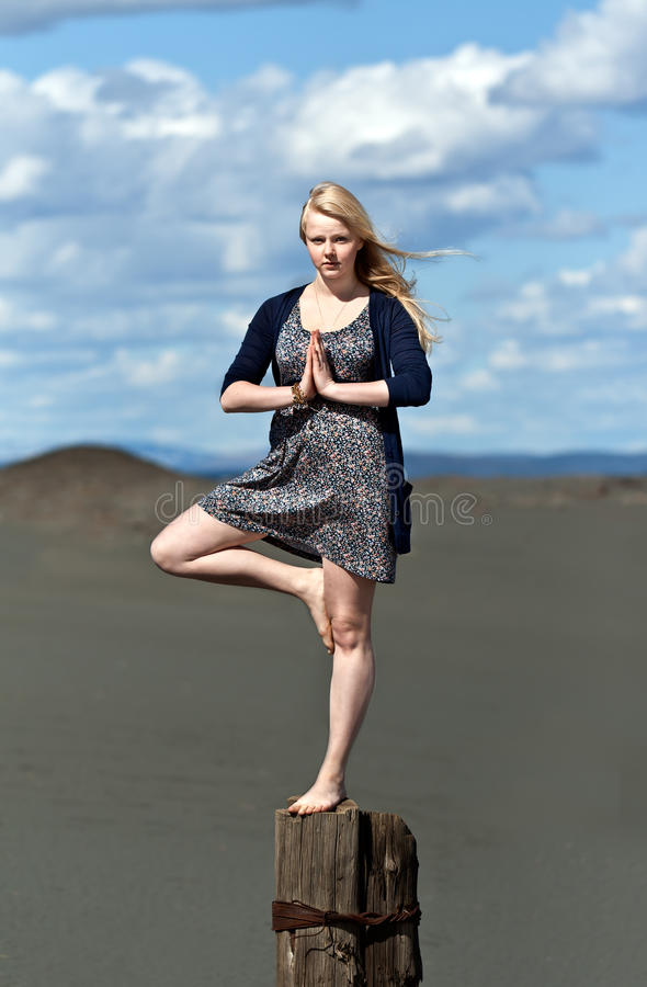 Free Yoga Girl Standing On One Leg Stock Images - 19949384