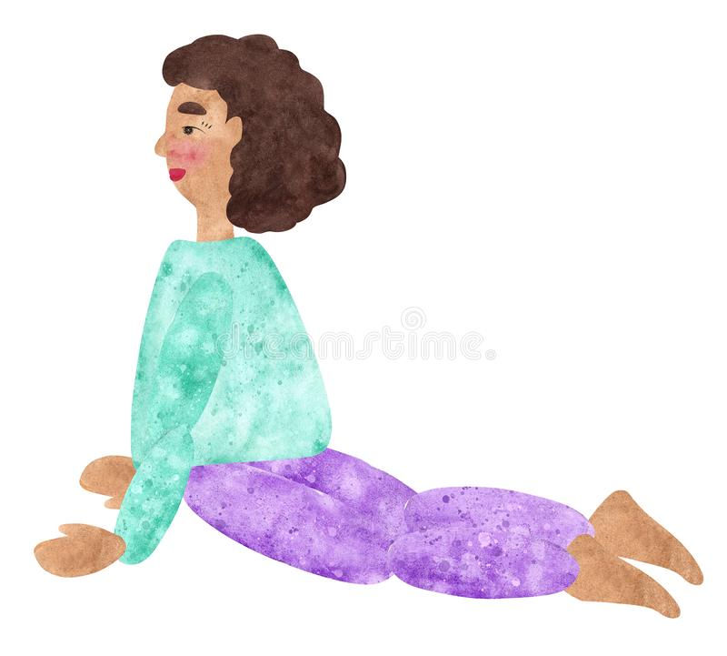 Yoga Girls, Hand drawn watercolor collage of a girl with dark curly hair in blue shirt and purple pants. Hand drawn watercolor collage of a girl with dark curly stock illustration