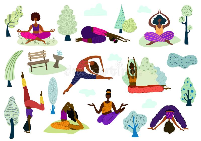 Yoga girls vector Set. Large vector set - multinational girls or young women in various yoga poses, practice meditation and yoga in the park outdoors, isolated stock illustration