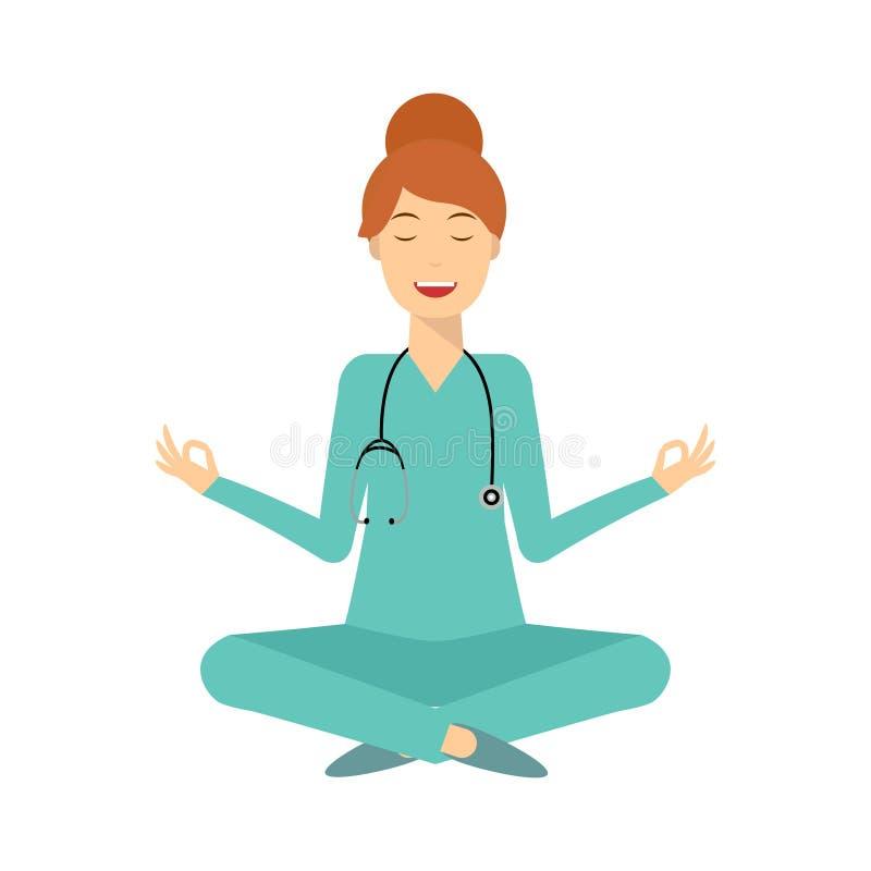 Yoga glimlachende artsenvrouw royalty-vrije illustratie