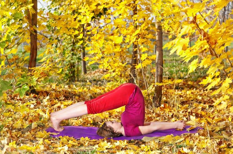 Yoga halasana im Herbst lizenzfreies stockbild