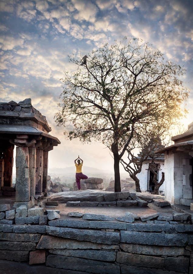 Yoga in Hampi royalty free stock photography