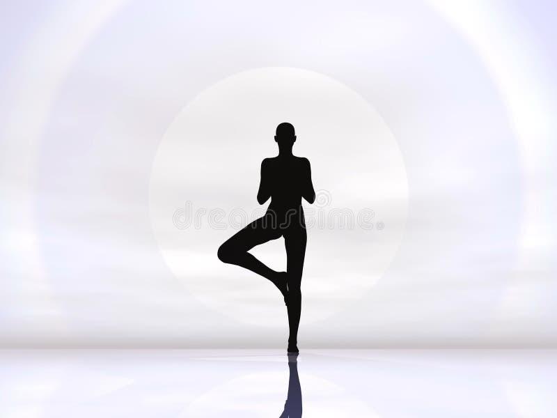 Yoga by hard sun - 3D render royalty free illustration
