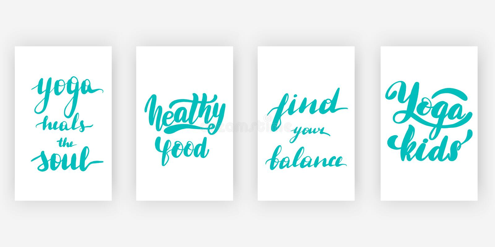Yoga heals the soul. Healthy. Food. Find your balance. Yoga kids. Four posters set with motivational quotes, calligraphy vector illustration collection royalty free illustration