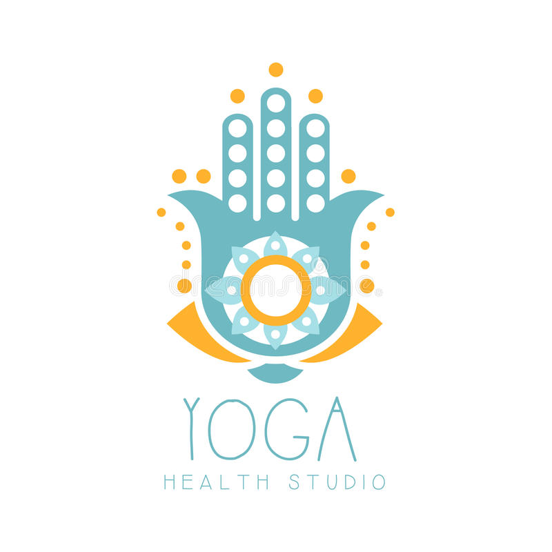 Yoga health studio logo symbol. Health and beauty care badge, spa, yoga center label. Vector Illustration royalty free illustration