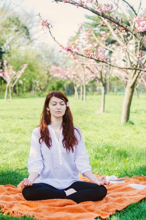 Yoga in het park royalty-vrije stock afbeeldingen