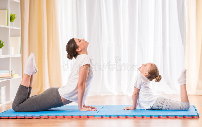 Yoga at home stock image
