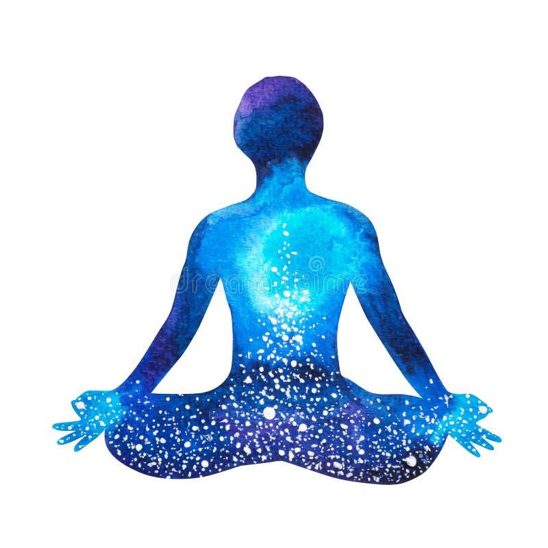 Yoga humain de pose de lotus de Chakra, abstrait illustration de vecteur