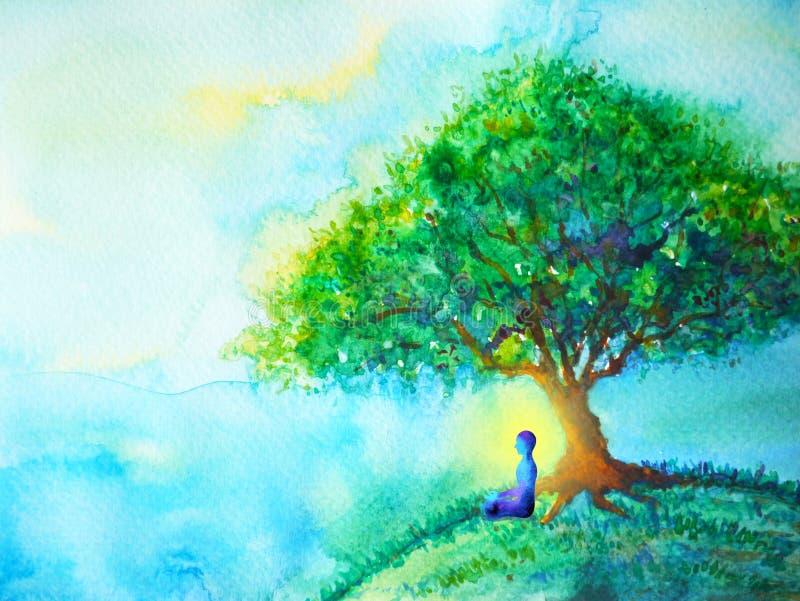 Yoga humana de la actitud del loto del chakra azul del color, mundo abstracto, universo dentro de su mente stock de ilustración