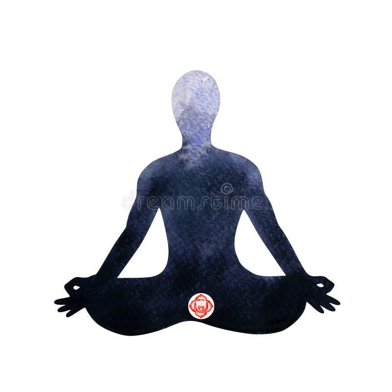Yoga humana de la actitud del loto del chakra rojo de la raíz, abstracta dentro de su mente ilustración del vector