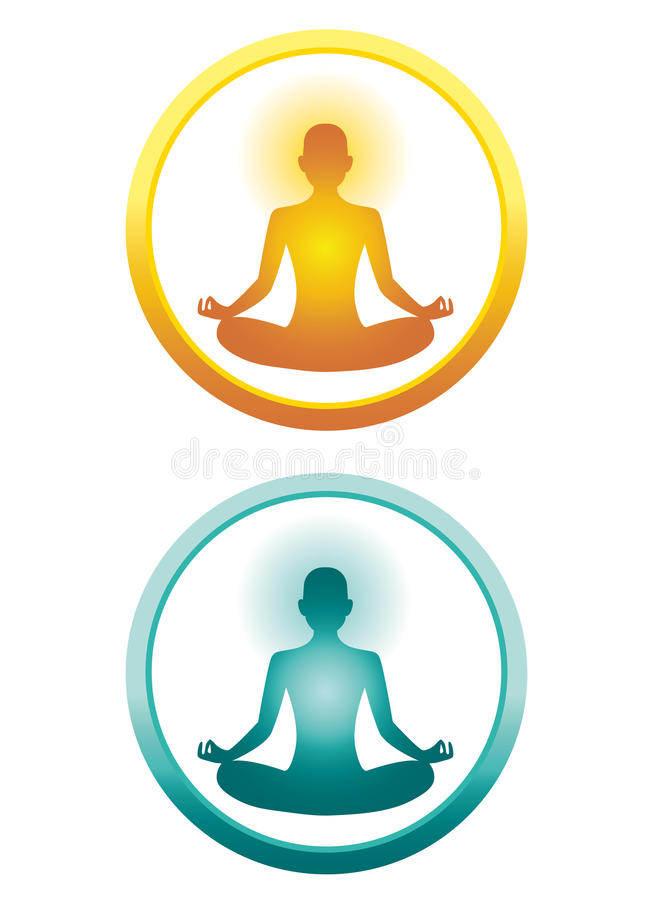 Yoga icons. Two icons of a yoga position. Yellow and blue versions vector illustration