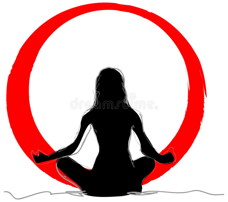 Yoga. Illustration of yoga pose with red sun stock illustration