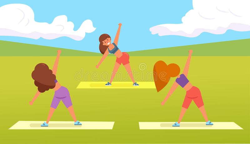 Yoga im Park lizenzfreie abbildung