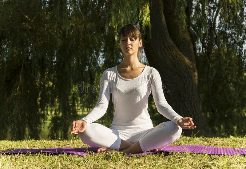 Yoga im Park lizenzfreies stockfoto