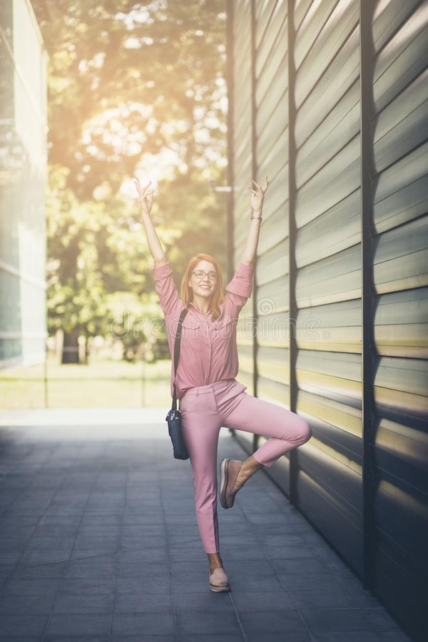 Yoga is important for better concentration at work. royalty free stock photography