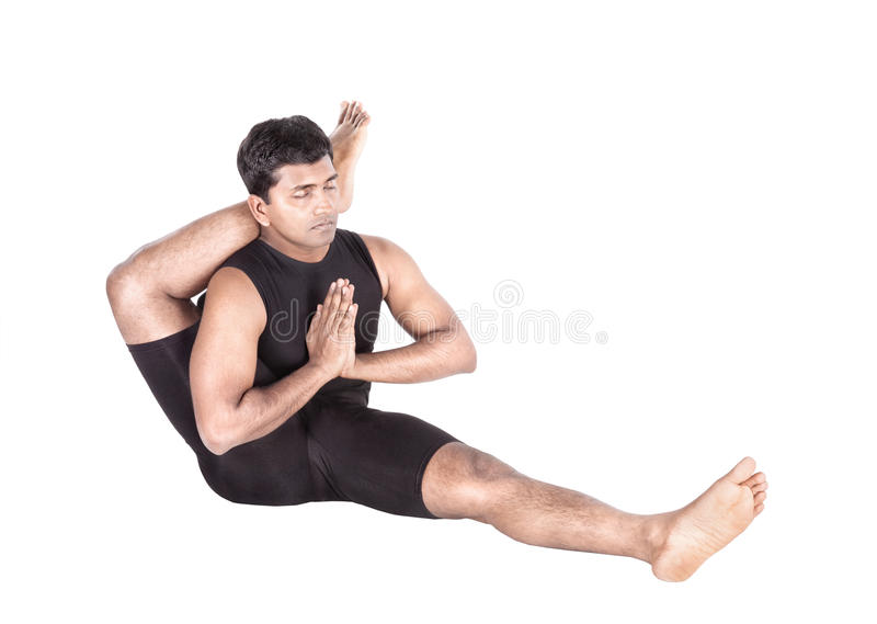 Yoga by Indian man on white royalty free stock photo