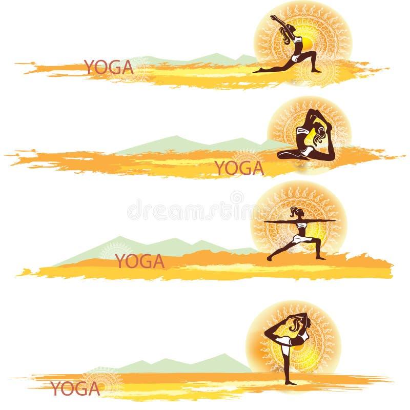 yoga Insieme delle bandiere illustrazione vettoriale