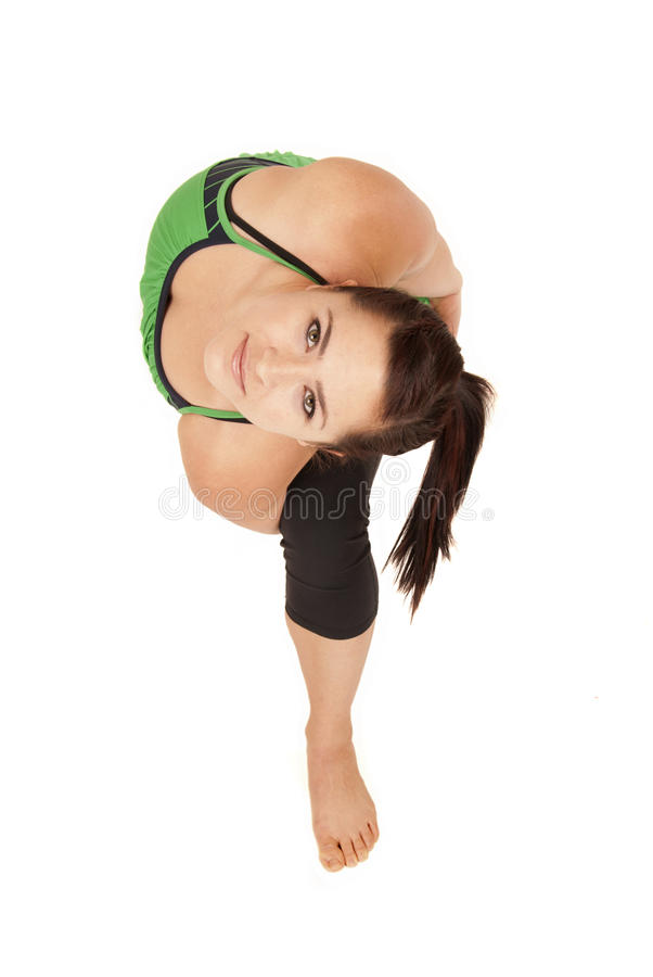 Yoga Instructor In Bound Revolved Side Angle Posit Stock Photo