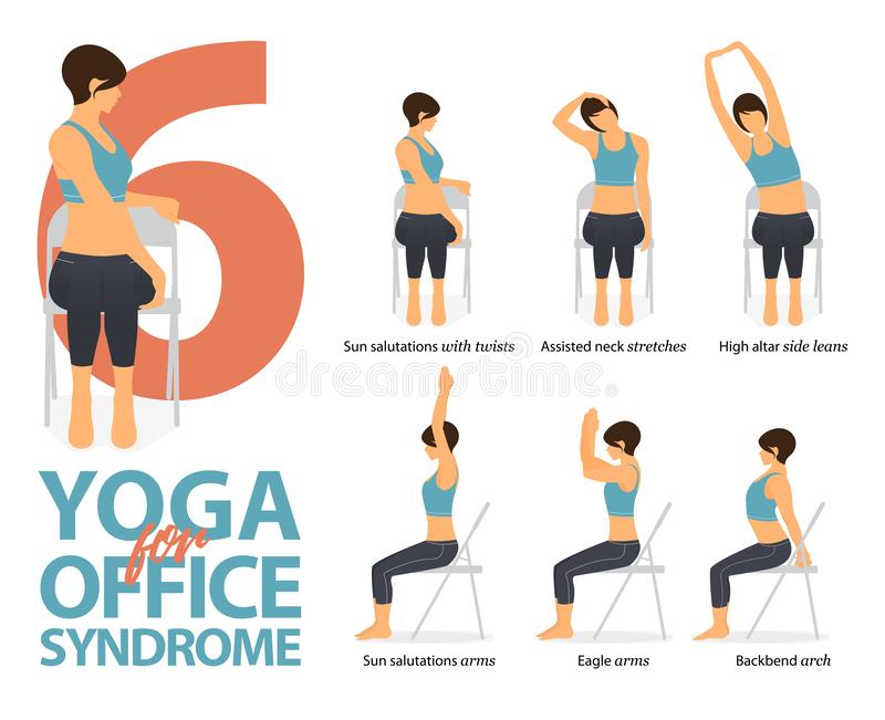 Infographic of 6 Yoga poses for office syndrome in flat design. Beauty woman is doing exercise for strength on office chair.Vector stock illustration
