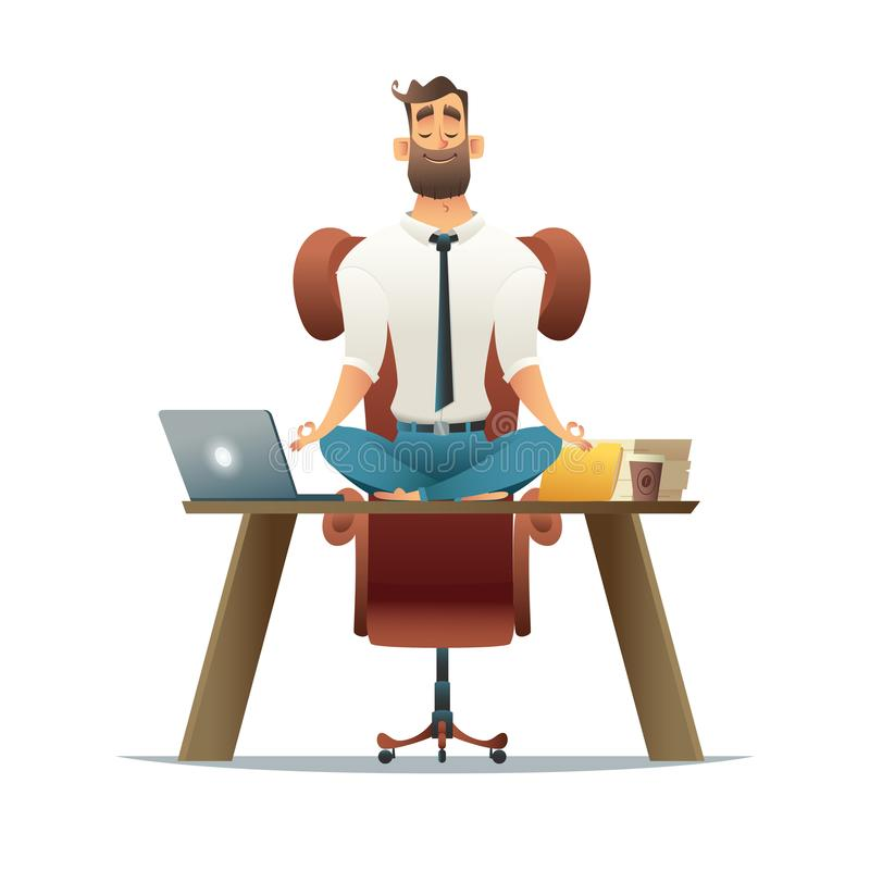 Yoga at job. Businessman relaxing in lotus position on table with computer at workplace. Cartoon style man meditation in vector illustration