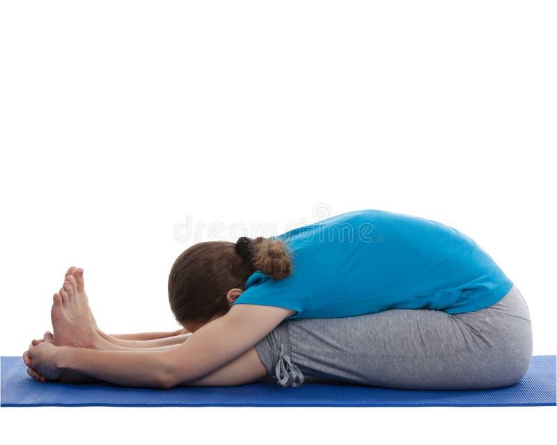 Yoga - junge Schönheit, die asana tut stockfotos