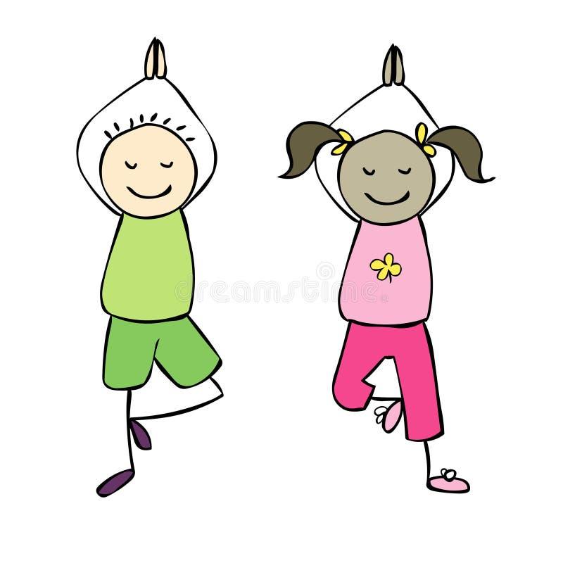 Yoga Kids Cartoon Yoga Vector Illustration Stock Vector Illustration Of Adorable Vector 114721478