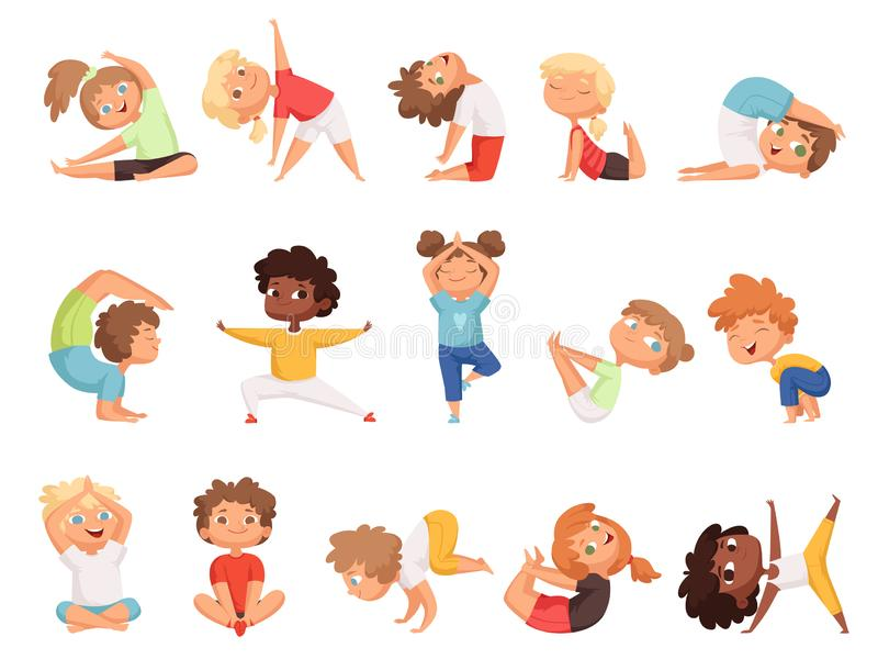 Yoga kids. Children making exercises in different poses healthy sport vector cartoon characters royalty free illustration