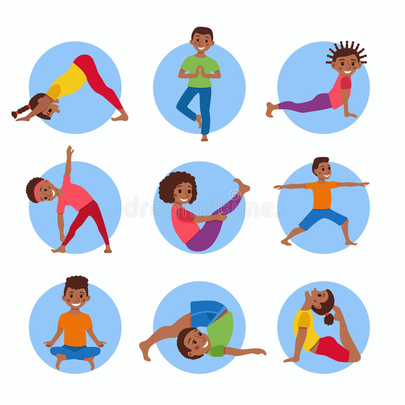 Yoga kids poses set stock illustration