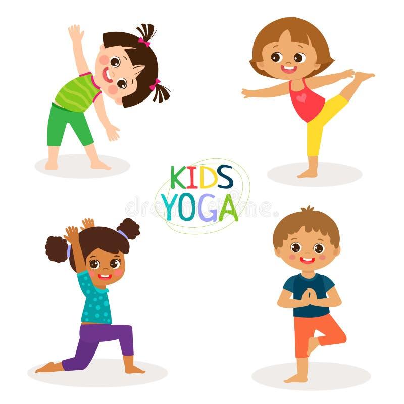 Yoga Kids Poses Vector Cartoon Illustration. Little Girls And Boys Doing Yoga Set. stock illustration