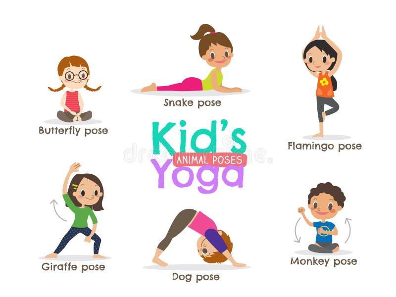 Yoga kids poses vector illustration royalty free illustration