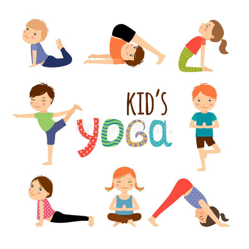 Yoga kids set. Gymnastics for children and healthy lifestyle. Vector illustration