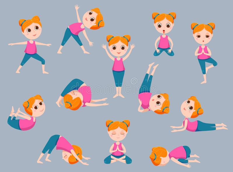 Yoga kids vector icons set stock photo