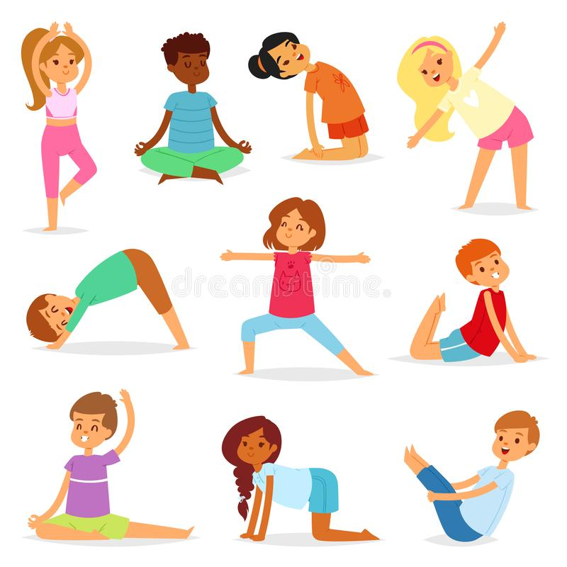 Yoga kids vector young child yogi character training sport exercise illustration healthy lifestyle set of cartoon boys. And girls activity of stretching vector illustration