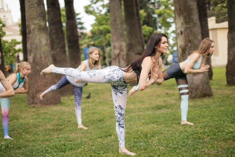 Yoga klassificerar utomhus- på parkerar Grupp av kvinnor som utomhus övar royaltyfri fotografi