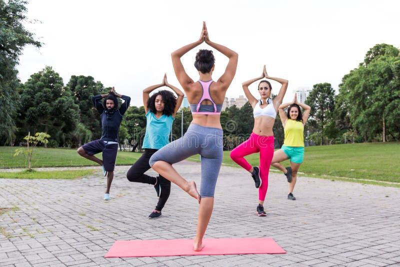 Yoga klassifiziert draußen mit gemischtrassiger Gruppe in der unterschiedlichen Arznei stockfotos