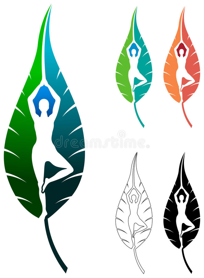 Yoga leaf royalty free illustration