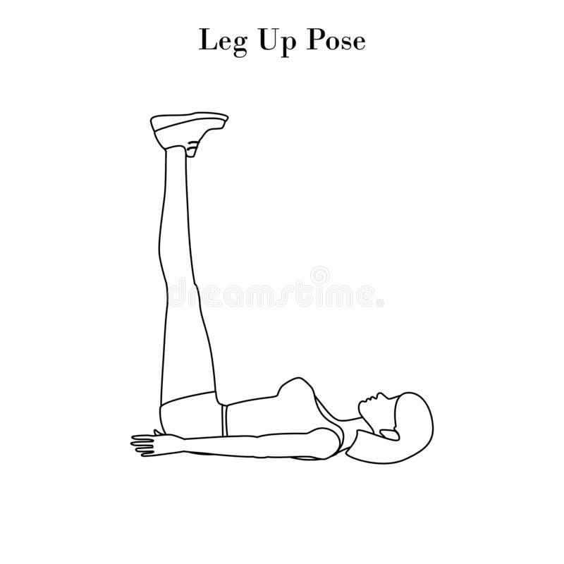 Yoga leg up pose outline. On the white background. Vector illustration vector illustration