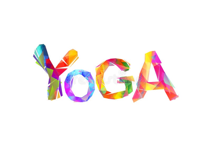 Yoga Letras triangulares coloridas ilustración del vector