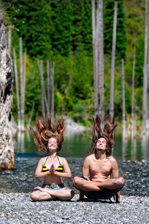 Yoga levitation hair up stock photo