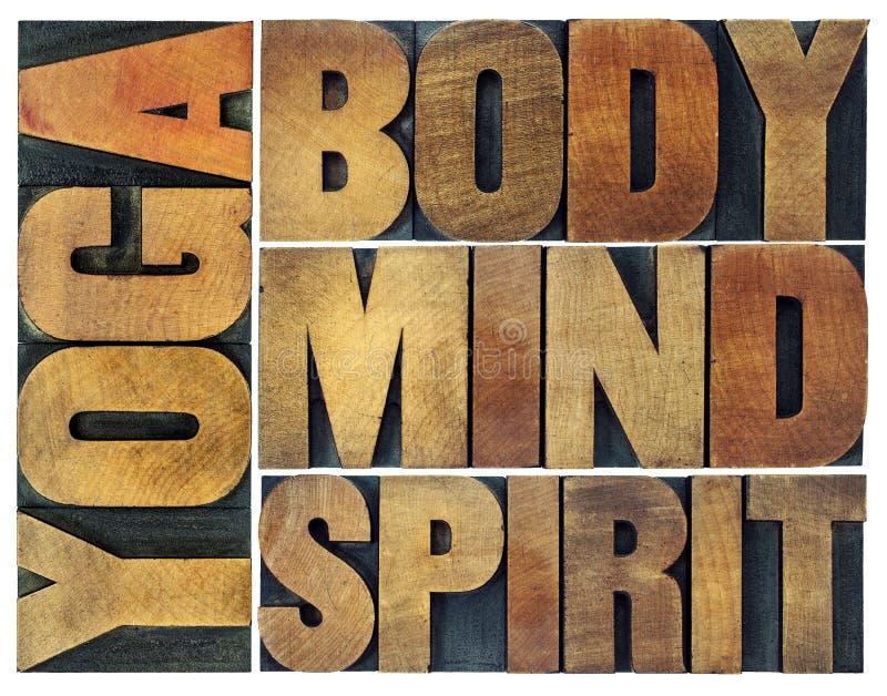 Yoga, lichaam, mening, ziel en de samenvatting van het geestwoord royalty-vrije stock afbeelding