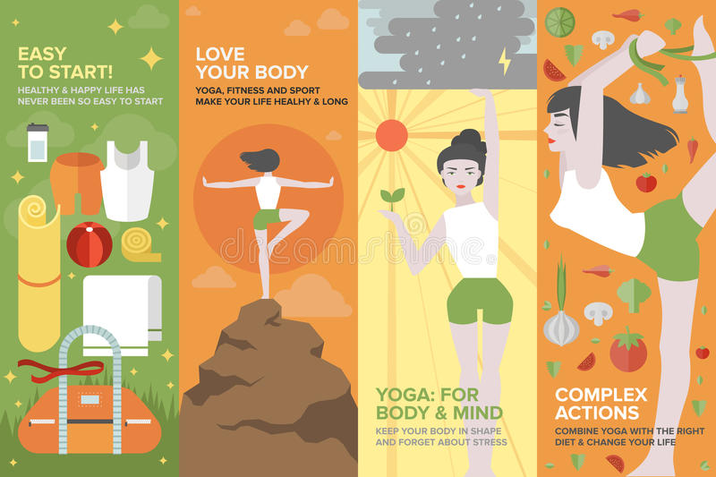 Yoga life for body and mind flat banner set. Flat banner set of health yoga life, practice yoga on physical, mental, emotional, spiritual and energetic level