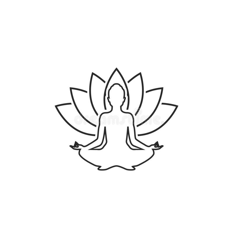 Free Yoga Line Icon. Lotus Position Silhouette. Vector Shape Royalty Free Stock Images - 176143799