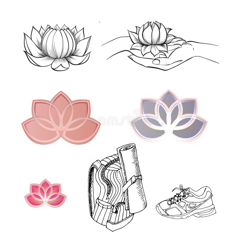 Yoga logo, Lotus, backpack, shoes, vector isolated icons royalty free illustration