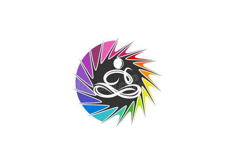 Yoga logo, kopplar av, undertecknar, förnimmelsen, symbolen, känsla, folk, meditationen, livsstilen, wellnessen och begreppsdesig royaltyfri illustrationer