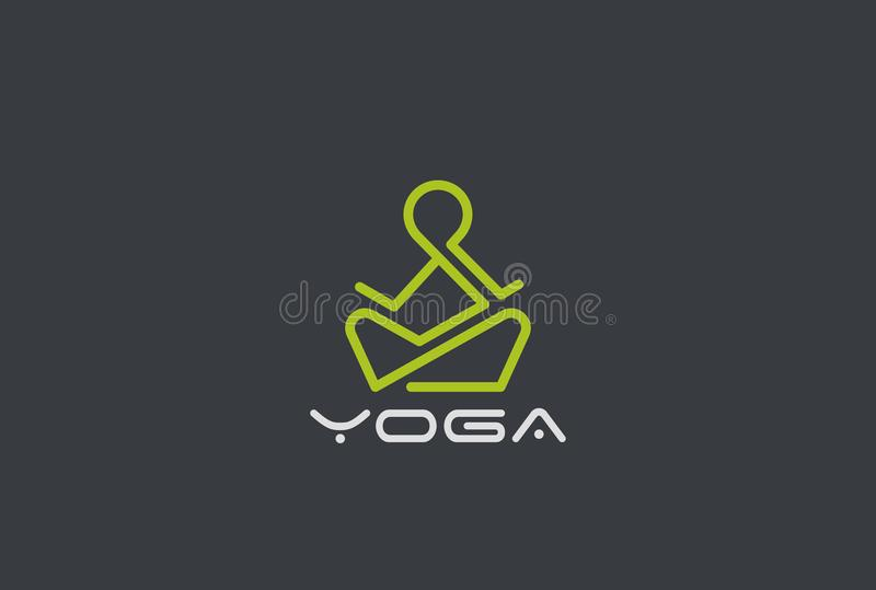 Yoga-Logovektor linear Mann, der Lotus-Haltung sitzt f stock abbildung