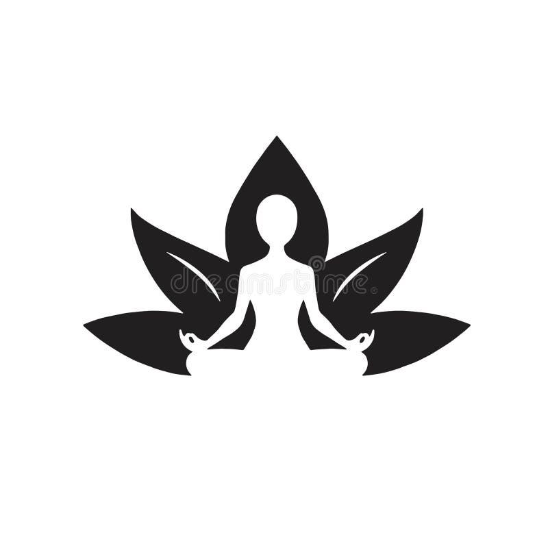 Yoga Lotus Icon Black och vit teckning royaltyfri illustrationer