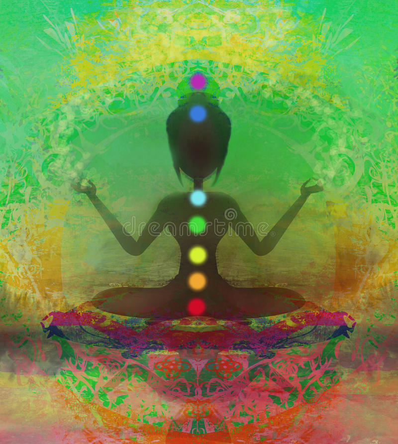 Yoga lotus pose. Padmasana with colored chakra points royalty free illustration