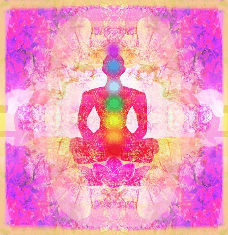 Yoga lotus pose. Padmasana with colored chakra points. Yoga lotus pose. Padmasana with colored chakra points, raster illustration royalty free illustration
